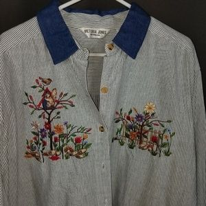 24W Button Down Embroidered Blouse